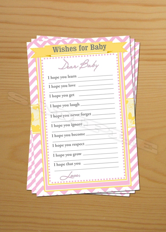 Wishing Well Well Wishes For Baby Shower Wish Advice Cards Etsy