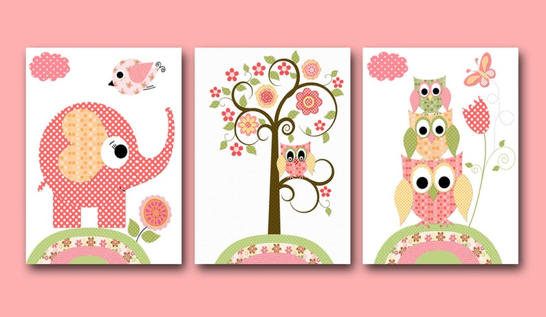 Nursery Art for Children Kid Wall Art Baby Girl Nursery art image 0