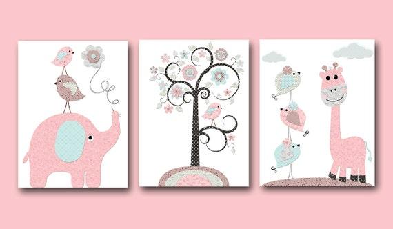 Pink Grey Blue Brown Baby Girl Wall Decor Canvas Nursery Print | Etsy