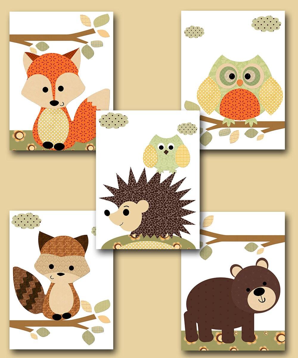 Fox Nursery Owl Nursery Baby Boy Nursery Art Nursery Wall Art | Etsy
