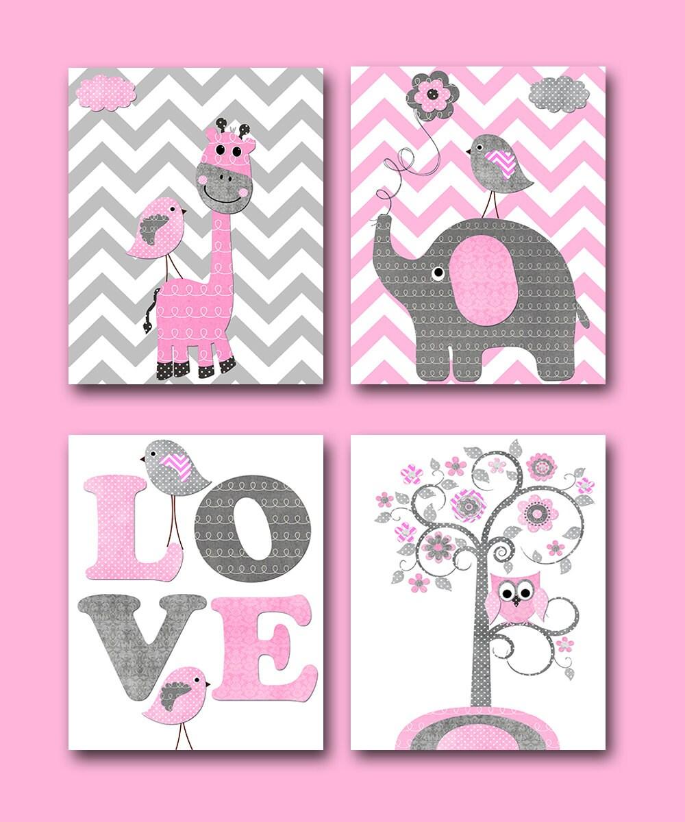 Rosa gris beb ni a decoraci n elefante jirafa pared etsy for Decoracion pared bebe nina