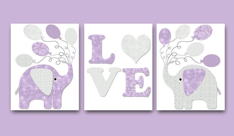 Lila grau Aufkleber Kinderzimmer Leinwand Druck Elefant Kinderzimmer Kunst  Baby Mädchen Kinderzimmer Dekor Kinder Kunstdruck Baby Set besteht aus 3
