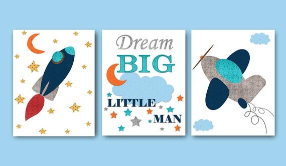 Baby Boy Nursery Quotes Dream Big Little Man Childrens Art