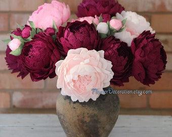 Paper peonies etsy bouquet of paper flowers high quality crepe paper peonies choose how many do you need 5 or 10 wedding flowers bouquet paper wedding mightylinksfo