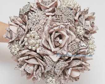 Wedding bouquets corsages etsy sheet music brooch bouquet paper flower brooch bouquet wedding bouquet paper flower bouquet wedding flowers book pages bouquet text flowers mightylinksfo