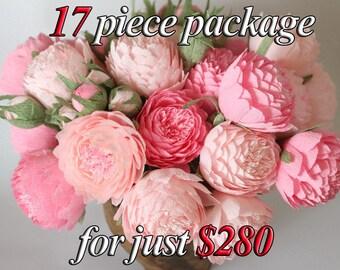 Paper flowers, paper wedding bouquet, bridal bouquet, paper bouquet, bridesmaids bouquets, paper peonies,pink flowers, pink paper flower