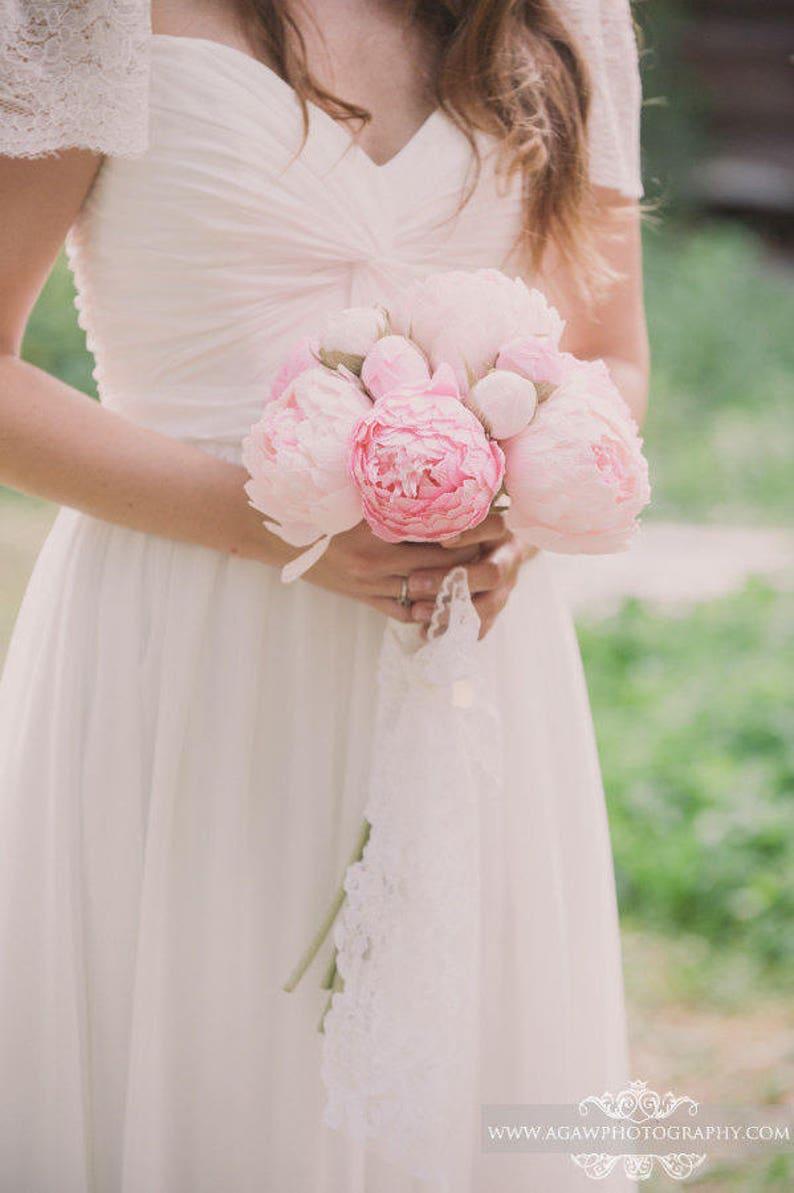 Peonies Paper flower bouquet wedding package image 0