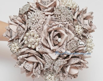 Sheet music Brooch bouquet paper flower brooch bouquet wedding bouquet paper flower bouquet wedding flowers book pages bouquet text flowers