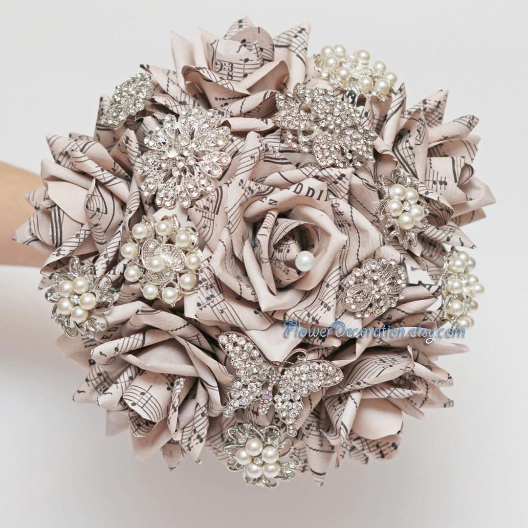 Sheet Music Brooch Bouquet Paper Flower Brooch Bouquet Wedding Etsy