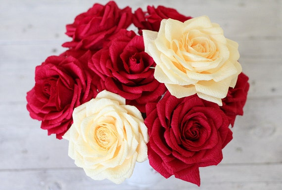 5 roses paper roses bouquet paper flower big roses cream etsy image 0 mightylinksfo