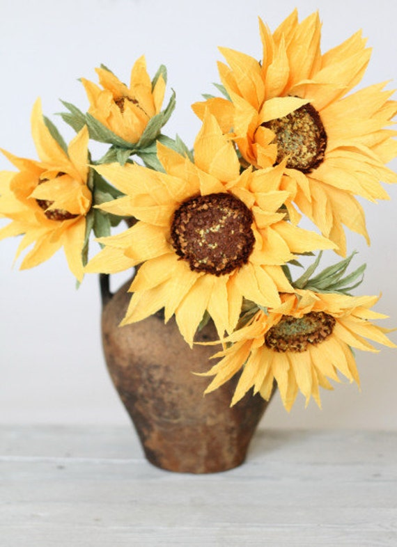 Paper Sunflower Bouquet Paper Sunflowers Wedding Decor Etsy