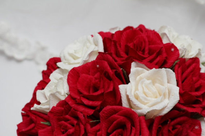 paper wedding bouquet wedding bouquets bridal bouquet paper bouquet bridesmaids bouquets paper flowers paper roses ivory red roses bouquets