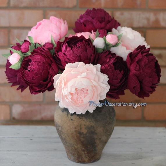 Bouquet Von Blumen Aus Papier Hochwertige Krepppapier Etsy
