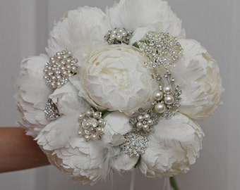 Brooch bouquet, bridal bouquet, wedding bouquet, bridesmaid bouquet, paper flower bouquet, peonies bouquet, white paper bouquet