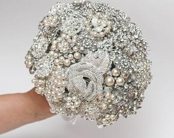Bridal Wedding Brooch Bouquet, Teardrop Cascading Silver Gray Jeweled, Luxury Design, Pearl Rhinestone Crystal Wedding Brooch Bouquet
