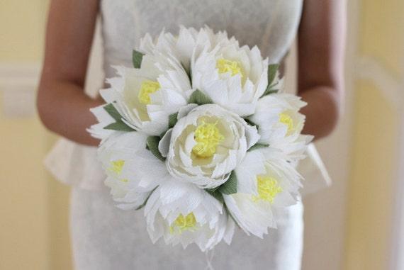 Wedding flower lotus bouquet water lily white lotus rustic etsy image 0 mightylinksfo