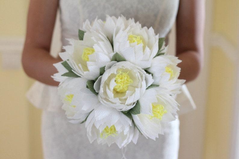 Wedding Flower Lotus Bouquet Water Lily White Lotus Rustic Etsy