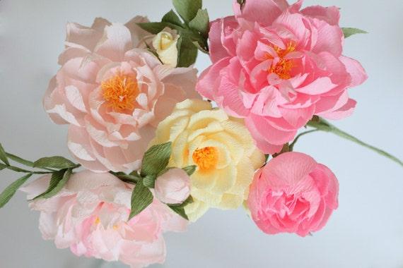 Hochzeit Pfingstrosen Blumen Rosen Papier Papier Blume Etsy