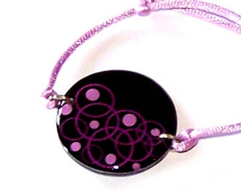 """Handmade bracelet resin Carolune Funky """"Bubbles"""" 30 mm, adjustable, mounted on a colorful satin cord"""