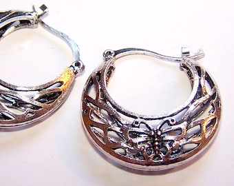 ETHNIC earrings shape BUTTERFLIES in antique silver filigree design basket
