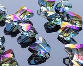 10 crystal beads faceted butterflies 15x12 mm transparent glass for Feng Shui pendant or jewelry