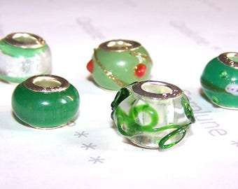 5 European beads glass 14 mm Green for jewelry making
