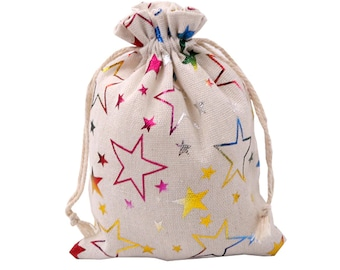 Cotton pouch 12x17 cm for CHRISTMAS, rainbow stars, gift bags, cord closure, recyclables, fabric gift bags