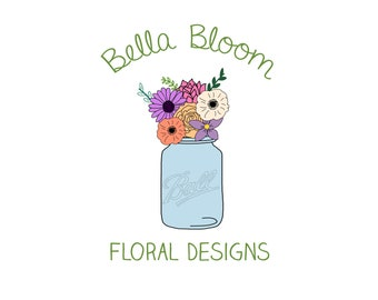 Custom OOAK Business or Etsy Shop Logo Design - watercolor logo - floral logo - boutique logo