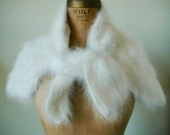 "100% Rabbit Angora Hand Knit Wrap/Shrug/Stole - ""Luxurious Elegance"""