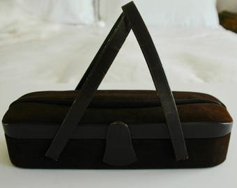 """Brown Suede Vintage Handbag - """"Suede Pill"""" - SALE"""