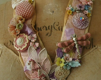 """One-of-a Kind Secret Garden Necklace: """"Grown"""" with Vintage Buttons & Vintage Flower Jewelry"""