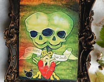 One Heart Two Souls Postcard, Greeting, Card, Siamese, Twins, Circus, Freak, Art, Gothic, Conjoined, Taxidermy, Ahs, fetus, skull, skeleton