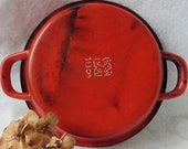 Ancient Small French Round Red Enamel Stove Plate, enamelled, Pan, Casserole, France, Service, Tableware, Kitchen, Rustic, Vintage, Country
