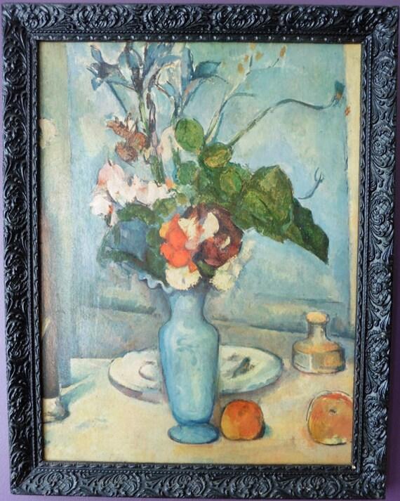 Vintage Painting Reproduction Bouquet In Blue Vase Paul Etsy