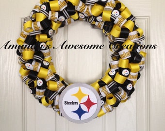 Steelers Football Wreath; Weekend Sale; Gifts for him; Gifts for her; Gifts Under 50