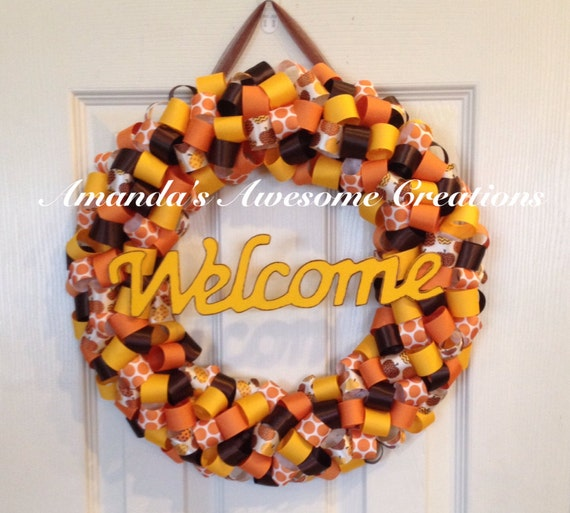 fall themed welcome wreath fall decor labor day sale house etsy. Black Bedroom Furniture Sets. Home Design Ideas