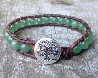 green aventurine heart chakra beaded leather wrap bracelet unisex for guys and girls