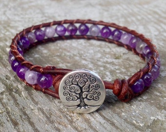 purple amethyst leather wrap bracelet for crown or third eye chakra unisex for men and women stacking gemstone beads
