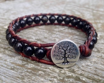 black tourmaline beaded leather wrap bracelet for root chakra unisex for men and women october birthstone birthday