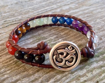 om 7 chakra leather wrap bracelet custom stones quartz amethyst lapis aventurine black tourmaline elephant unisex men and women