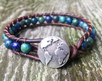blue chrysocolla beaded leather wrap bracelet globe worke travel wanderlust for throat chakra teal aqua unisex men women