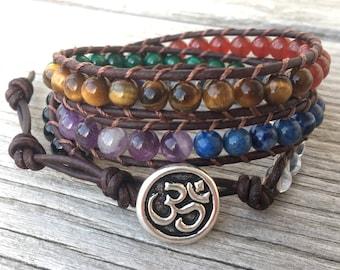 7 chakra leather wrap bracelet om unisex rainbow stone quartz amethyst lapis malachite tiger eye carnelian tourmaline