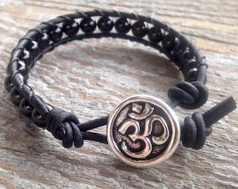 black tourmaline om beaded leather wrap bracelet for root chakra unisex men women october birthstone birthday