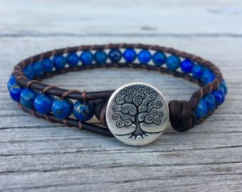 blue lapis lazuli beaded leather wrap bracelet tree button unisex guys girls
