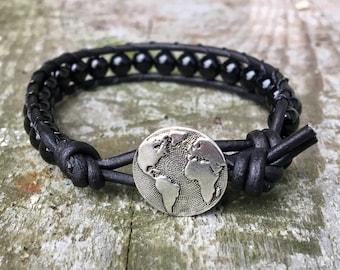 black tourmaline beaded leather wrap bracelet unisex for men and women globe world travel wanderlust