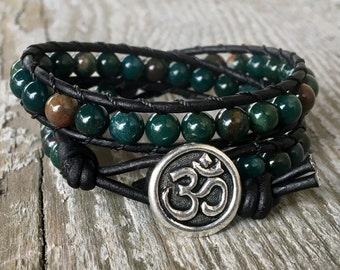 indian Bloodstone bracelet green beaded leather wrap with om heart root and sacral chakra unisex for men and women black