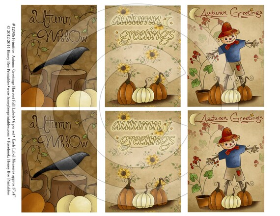 Fall Autumn Thanksgiving Harvest Thankful Primitive Pantry Labels 12961