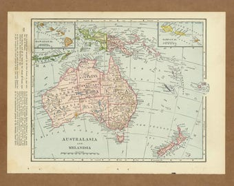 Map Australia And New Zealand.Items Similar To Vintage Map Australia New Zealand From 1953