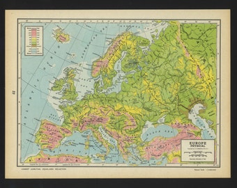 Vintage Physical Map Europe From 1944 Original