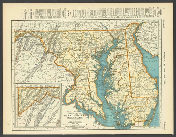 Vintage Map of Maryland Delaware From 1937 Original   Etsy